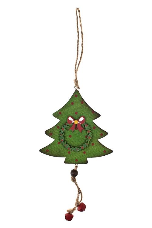 Украшение новогоднее Елочка с украшениемЕлочные игрушки<br>Дерево, красно-зеленое, подвесное (2 вида)<br>