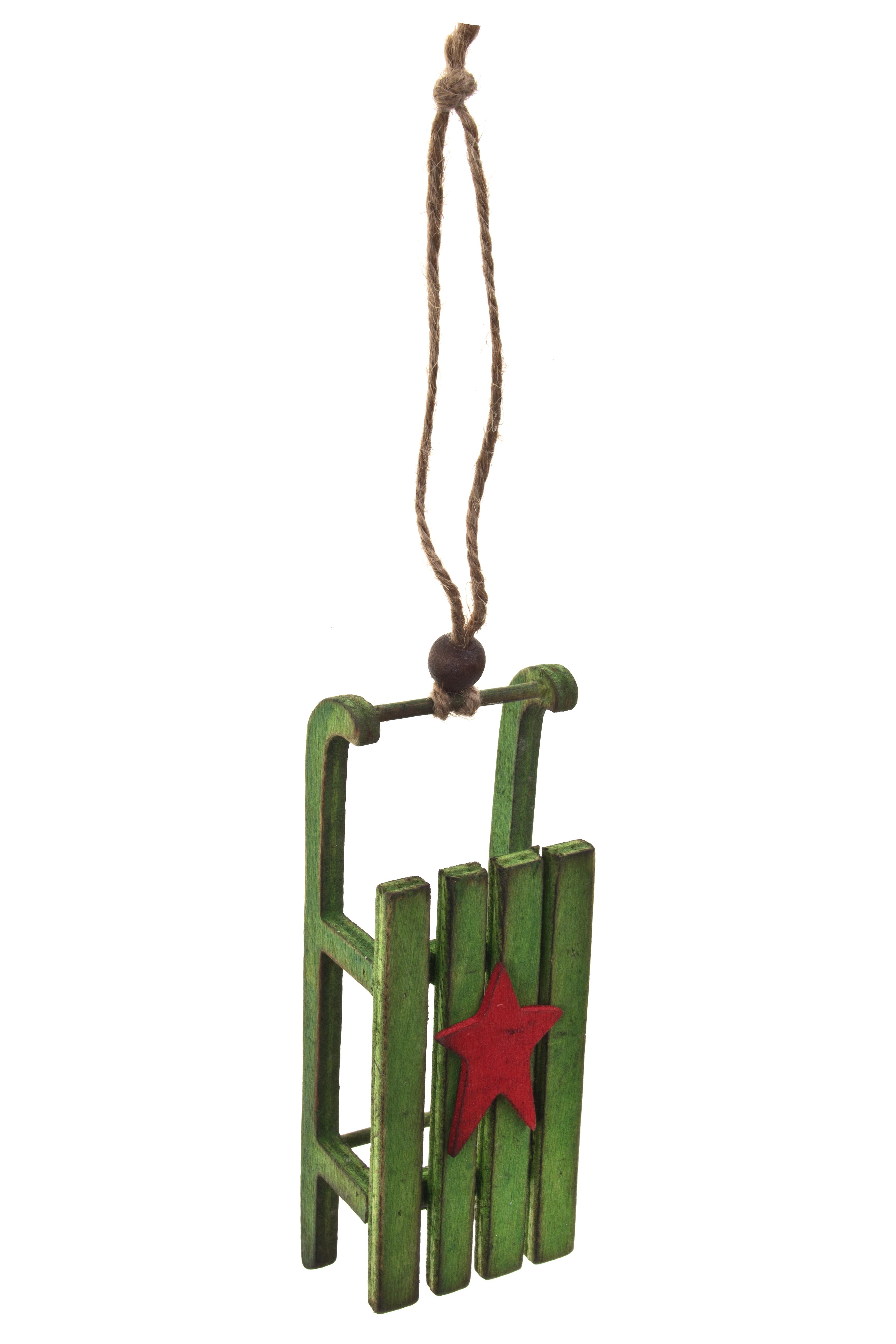 Украшение новогоднее СанкиЕлочные игрушки<br>Выс=13см, дерево, подвесное (2 вида)<br>