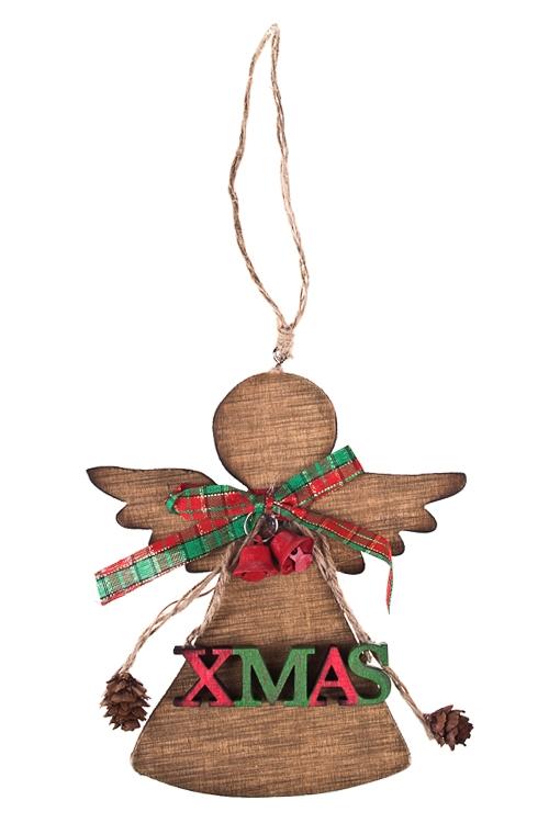 Украшение новогоднее Рождественский ангелочекПодарки<br>Выс=16см, дерево, подвесное<br>