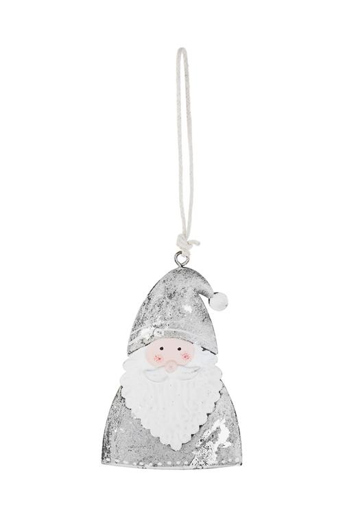 Украшение новогоднее Дедушка МорозСувениры и упаковка<br>Выс=9см, металл, бело-серебр., подвесное<br>