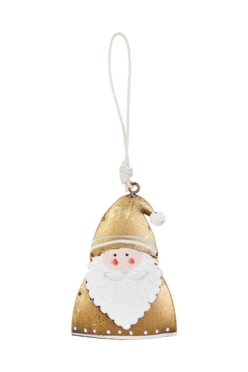 Украшение новогоднее Дедушка МорозСувениры и упаковка<br>Выс=9см, металл, бело-золот., подвесное<br>