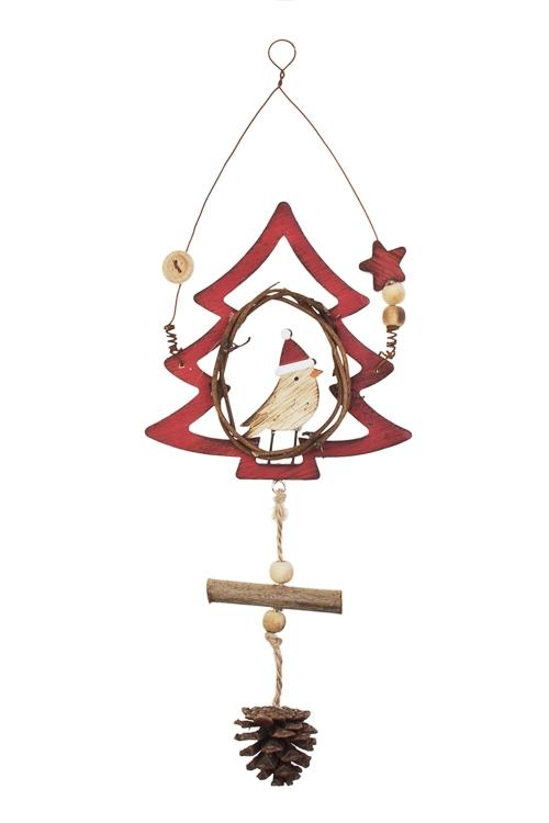 Украшение новогоднее Елочка с птичкойДекоративные гирлянды и подвески<br>30*12см, дерево, красно-коричн., подвесное<br>