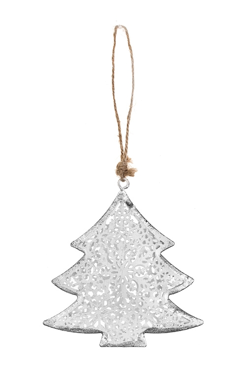 Украшение новогоднее Елочка со снежинкамиДекоративные гирлянды и подвески<br>Выс=9см, металл, бело-серебр., подвесное<br>