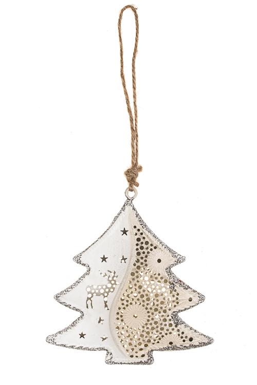 Украшение новогоднее Рождественская елочкаДекоративные гирлянды и подвески<br>Выс=9.5см, металл, бело-серебр., подвесное<br>