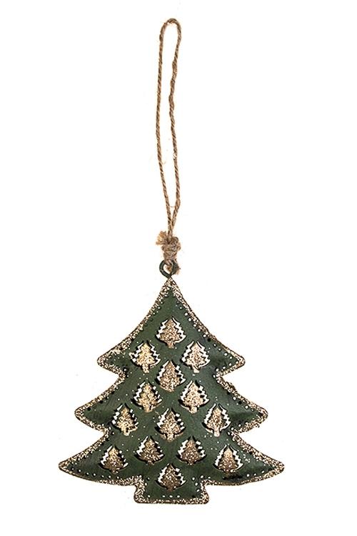 Украшение новогоднее ЕлочкаСувениры и упаковка<br>Выс=9см, металл, зелено-золот., подвесное<br>