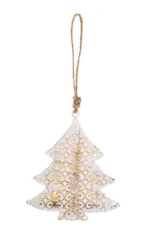 Украшение новогоднее Елочка в вензеляхСувениры и упаковка<br>Выс=9см, металл, бело-золот., подвесное<br>