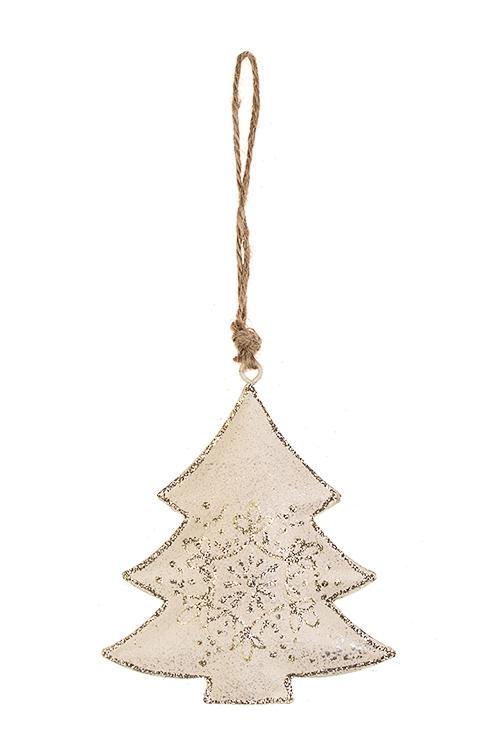Украшение новогоднее Елочка со снежинкойДекоративные гирлянды и подвески<br>Выс=9см, металл, бело-серебр., подвесное<br>