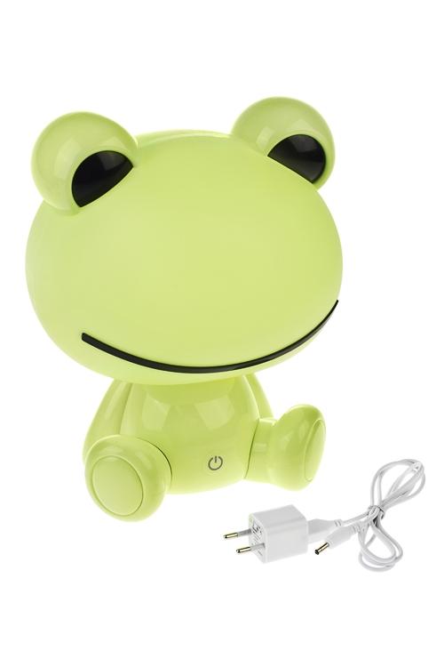 Светильник электрический настольный ЛягушкаДетские светильники и ночники<br>Выс=25см, пласт., зеленый, с USB подключением<br>