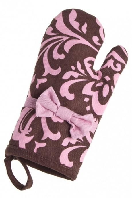 Варежка-прихватка Малышка - прелестная хозяйкаПосуда<br>20*9см, текстиль, с бантом, розово-коричн.<br>