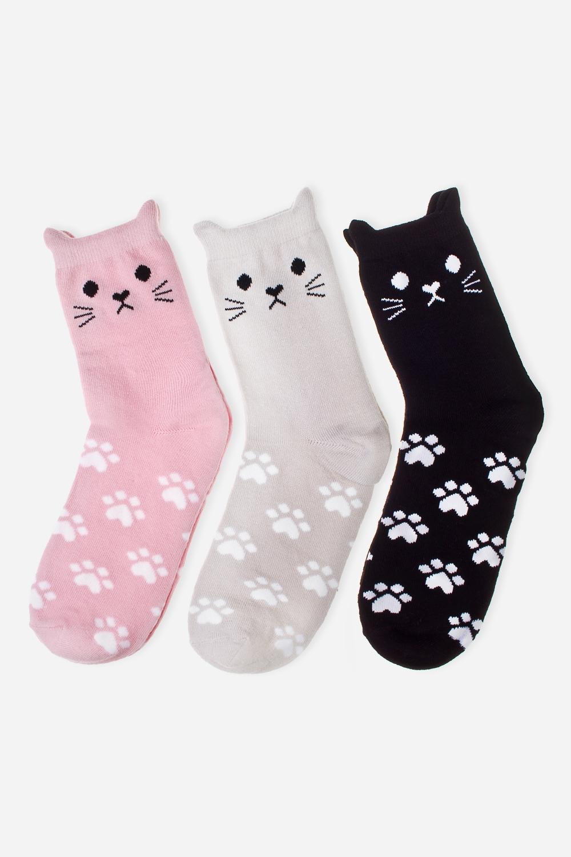 Набор носков КотикиПерсональные подарки с Вашим именем<br>Набор из трех пар носков. Состав: 72% хлопок, 26% полиэстер, 2% эластан.<br>