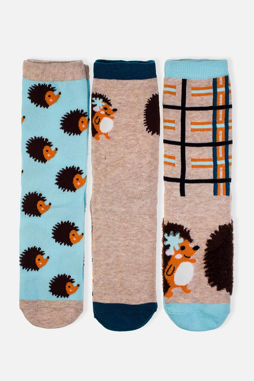 Набор носков ЕжикНабор носков (3 пары). Состав: 72% хлопок, 26% полиэстер, 2% эластан. Единый размер 36-41<br>