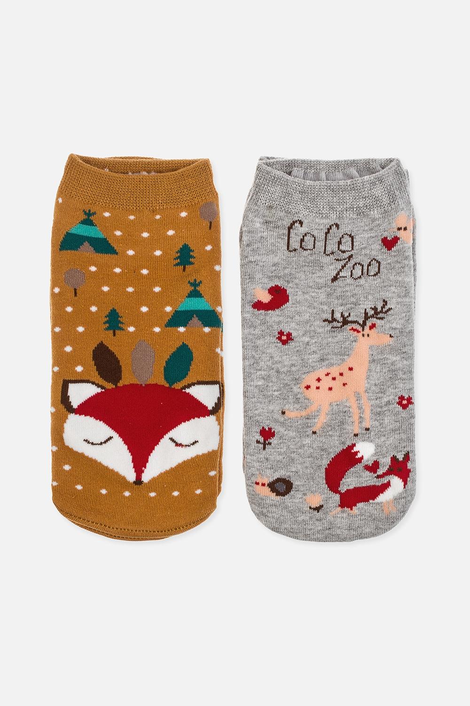Набор носков женских ФоксиНабор носков (2 пары). Состав: 72% хлопок, 26% полиэстер, 2% эластан. Размер 36-38<br>