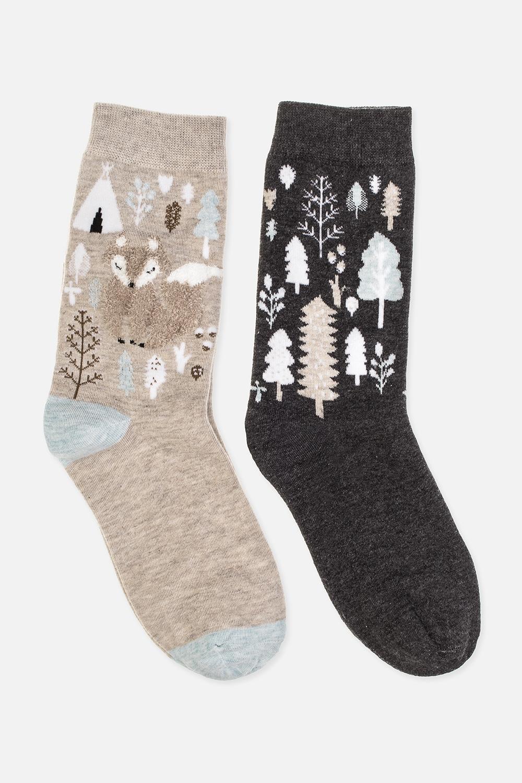 Набор носков женских РэйниНабор носков (2 пары). Состав: 72% хлопок, 26% полиэстер, 2% эластан. Размер 36-38<br>