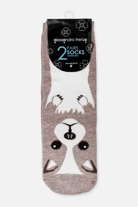 Набор носков СобачкиПодарки на Новый год 2018<br>Набор из двух пар носков. Материал: хлопок/эластан. Размер 36-41<br>