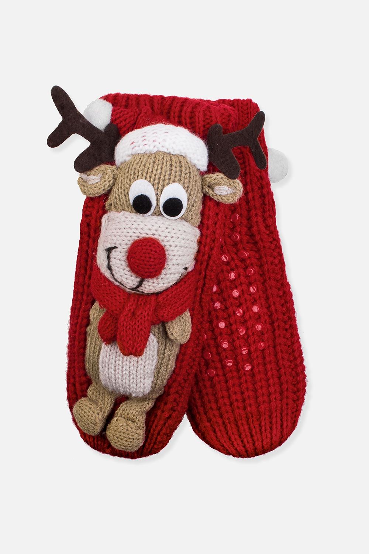 Носки домашние детские Рождественский оленьМатериал: 100% акрил. Подошва с резиновыми вставками<br>