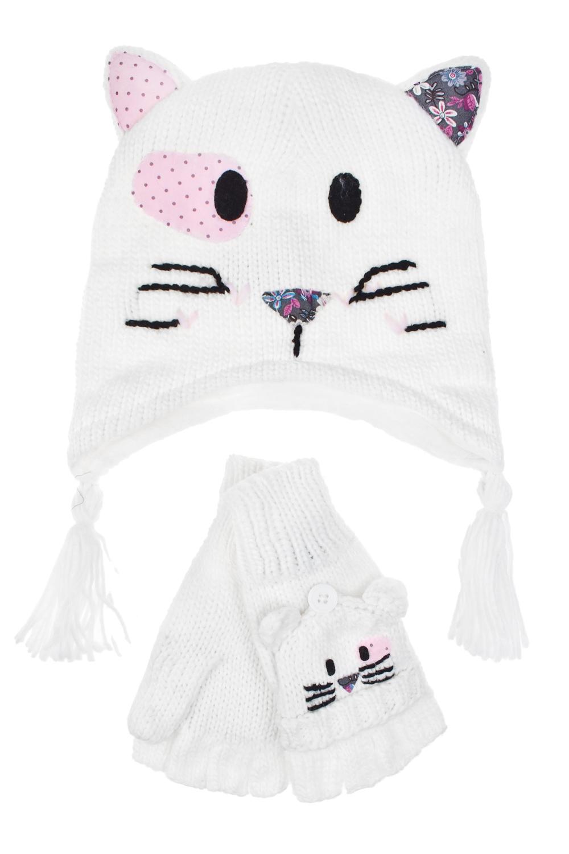 Комплект детский (шапка, перчатки) КошкаПодарки<br>Комплект детский (шапка, перчатки). Состав: 100% акрил. Размер шапки 52-54 см (3-6 лет)<br>