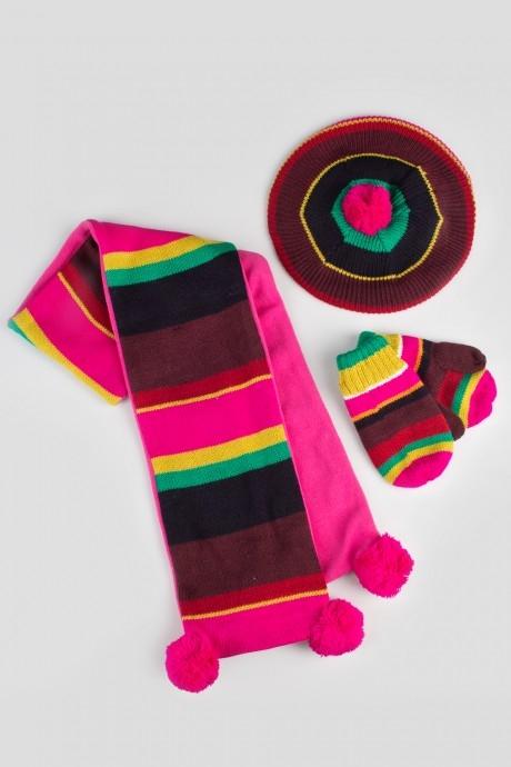 Комплект детский (берет, варежки, шарф) БрайтКомплект детский (берет, варежки, шарф). Состав: 100% акрил. Размер берета 52-54 см (3-6 лет)<br>
