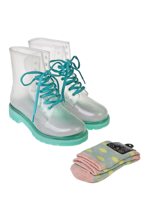 Ботинки резиновые МинтиПодарки<br>Ботинки из прозрачного ПВХ в комплекте с цветными носками. Материал ботинок: 100% ПВХ. Материал носков: текстиль. Длина стельки 25,5см.<br>