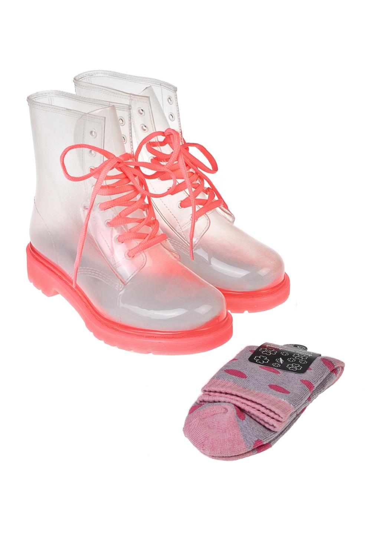 Ботинки резиновые МинтиПодарки<br>Ботинки из прозрачного ПВХ в комплекте с цветными носками. Материал ботинок: 100% ПВХ. Материал носков: текстиль. Длина стельки 25,5 см.<br>