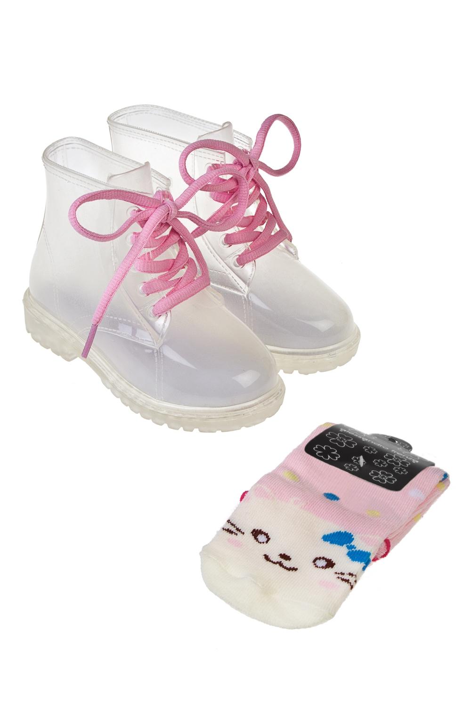 Полусапоги резиновые детские КиттиПодарки<br>Ботинки детские из прозрачного ПВХ в комплекте с цветными носками. Материал ботинок: 100% ПВХ. Материал носков: текстиль. Длина стельки 16,5 см.<br>