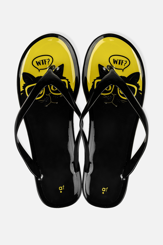 Шлепанцы резиновые Озадаченный котОдежда, обувь, аксессуары<br>Материал: 100% ПВХ. Длина внутренней стельки - 24 см.<br>