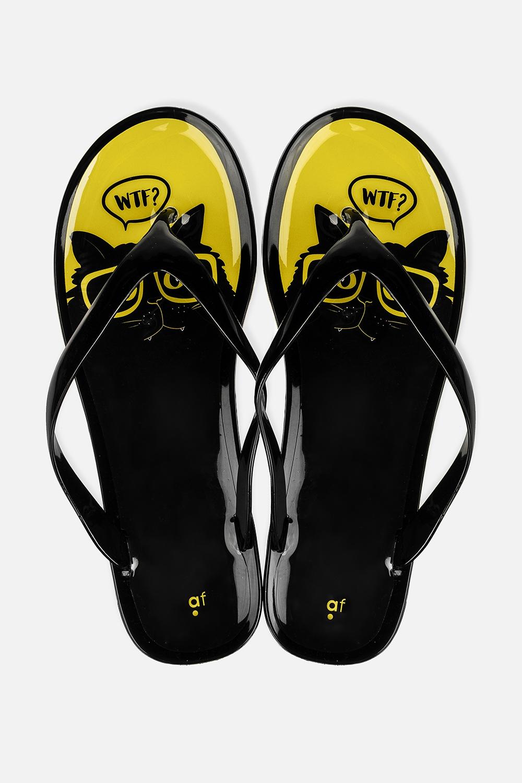 Шлепанцы резиновые Озадаченный котОдежда, обувь, аксессуары<br>Материал: 100% ПВХ. Длина внутренней стельки - 25,5 см.<br>