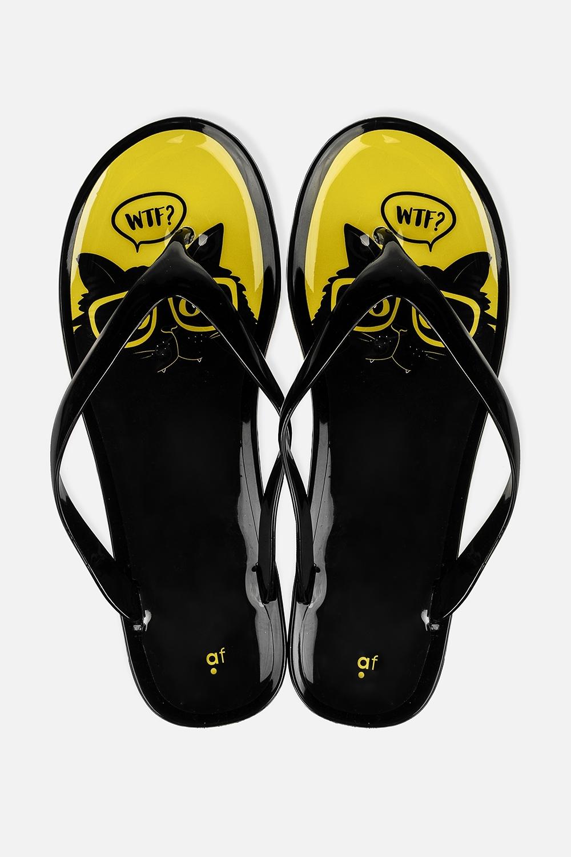 Шлепанцы резиновые Озадаченный котОдежда, обувь, аксессуары<br>Материал: 100% ПВХ. Длина внутренней стельки - 26 см.<br>