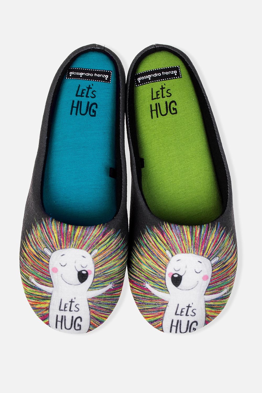 Тапочки домашние женские Давай обнимемся!Подарки<br>Материал: хлопок/полиэстер. Подошва: резина.<br>
