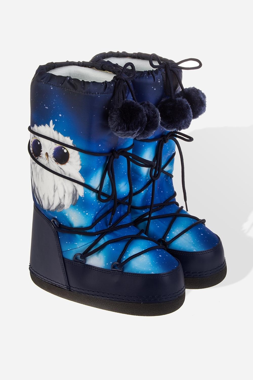 Сапоги зимние женские Сова и космосСапоги утепленные. Материал верха: нейлон, искусственная кожа. Внутренний материал: термовкладка. Подошва: износостойкая резина.<br>