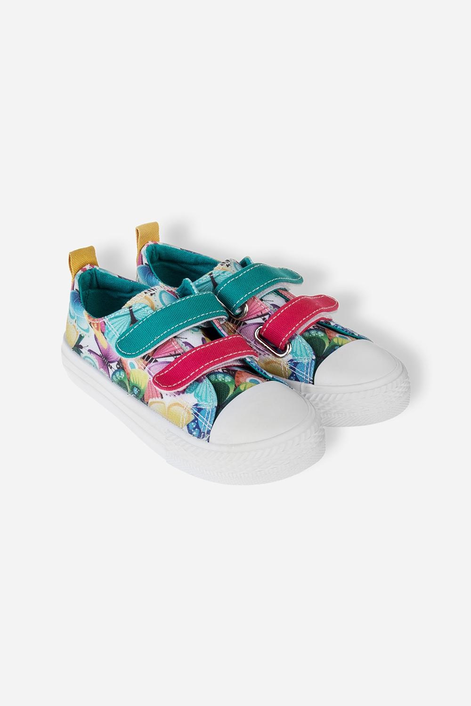 Кеды детские Разноцветные бабочкиДетские кеды на липучках с принтом. Материал: текстиль, резина. Длина внутренней стельки - 19 см.<br>