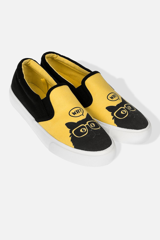 Слипоны женские Озадаченный котОдежда, обувь, аксессуары<br>Материал: текстиль, резина. Длина внутренней стельки - 25,5 см.<br>