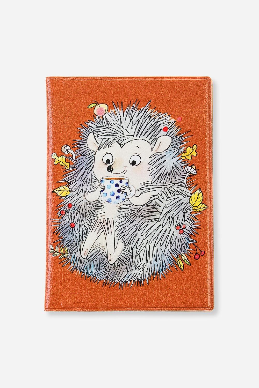 Обложка для паспорта  Ежик в листьях  - артикул:fafd7d