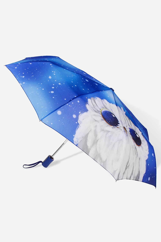 Зонт складной Сова и космосРаспродажа Black Friday<br>Зонт складной полный автомат. Материал: 100% полиэстер. Длина 27см.<br>