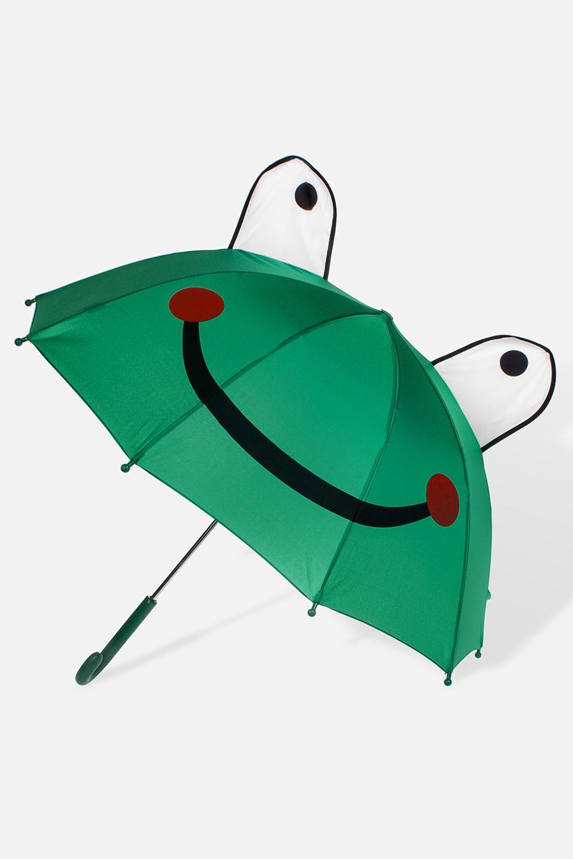 Зонт детский ЛягушонокПодарки<br>Зонт-трость детский механический. Материал: полиэстер. Выс=60см.<br>