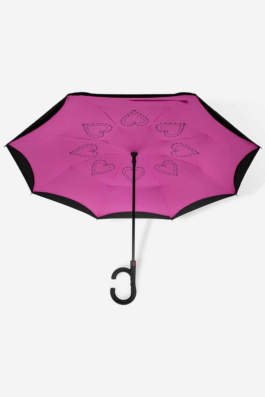 Зонт обратный СердечкиПодарки<br>Зонт обратный полуавтомат. Материал: 100% полиэстер. Выс=90см.<br>