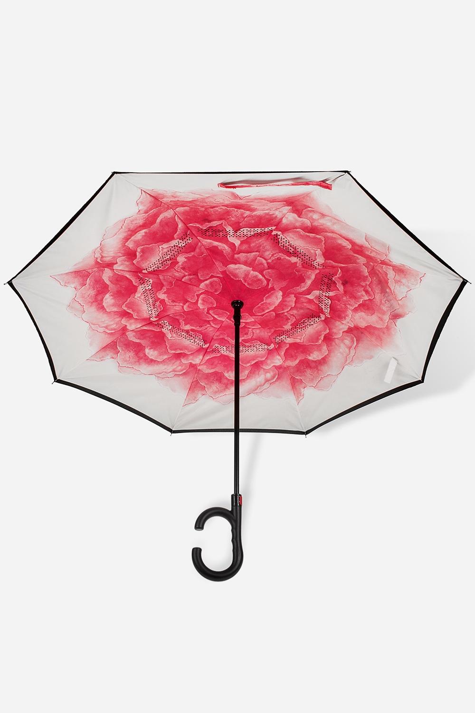 Зонт обратный Розовый пионПодарки<br>Зонт обратный полуавтомат. Материал: 100% полиэстер. Выс=90см.<br>