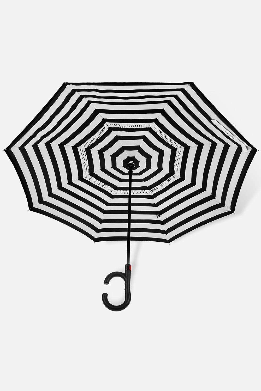 Зонт обратный ПолоскиПодарки<br>Зонт обратный полуавтомат. Материал: 100% полиэстер. Выс=90см.<br>