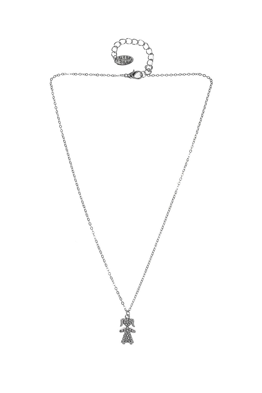 Кулон на цепочке ДевочкаМетал: гиппоаллергенный бижутерный сплав, стекло<br>