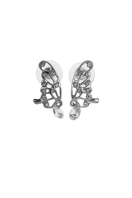 Серьги Весенние бабочкиМетал: гиппоаллергенный бижутерный сплав, стекло<br>