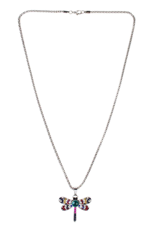 Кулон на цепочке Яркая стрекозаМетал: гиппоаллергенный бижутерный сплав металлов, не содержащий никеля, пластик.<br>