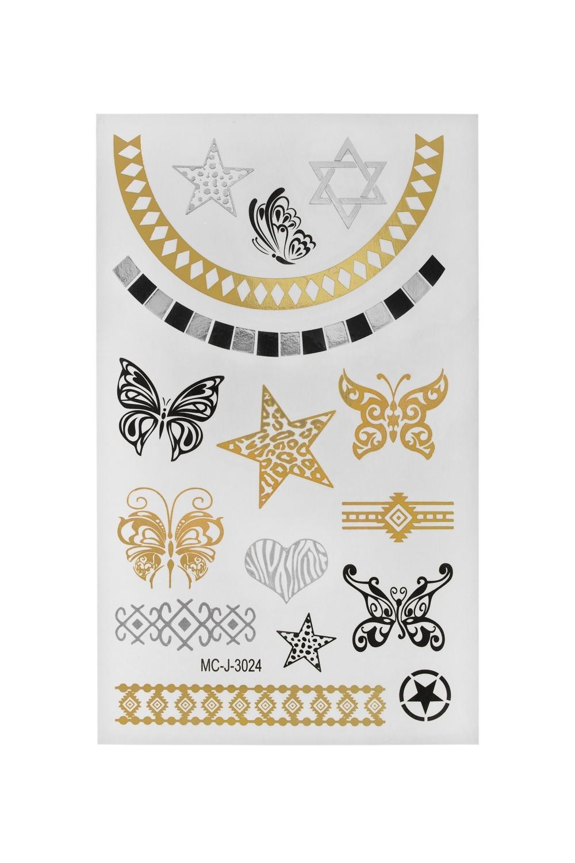 Набор тату-наклеек для тела Звезды и бабочки плоттер для виниловых наклеек