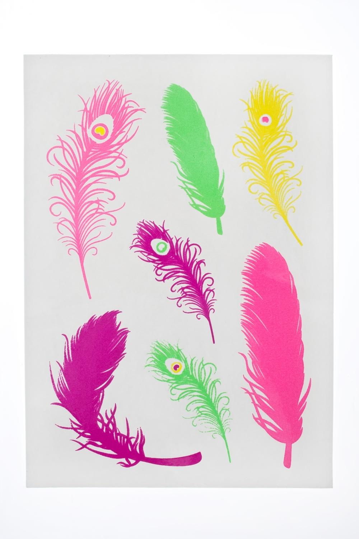 Набор тату-наклеек для тела Цветные перья плоттер для виниловых наклеек