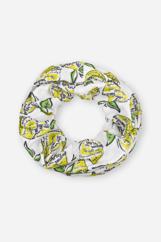 Повязка на голову ЛимоныМногофункциональная повязка на голову, которую можно использовать как бандану, резинку для волос, шарф и т.д.  Состав - 100% полиэстер. Размер: 24*49см<br>