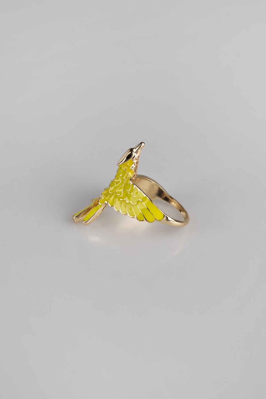 Кольцо Весенняя птицаРазмер 18, металл, эмаль<br>