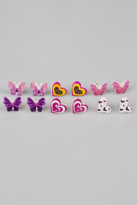 Набор серег детских Бабочки и сердечкиРаспродажа Black Friday<br>Пластик.<br>