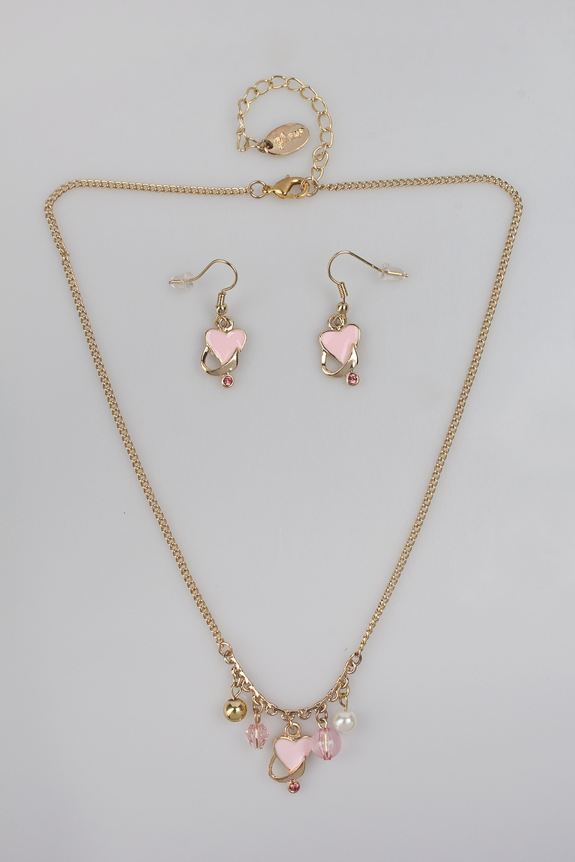 Набор украшений детских Розовые сердечкиРаспродажа Black Friday<br>Метал: гиппоаллергенный бижутерный сплав<br>