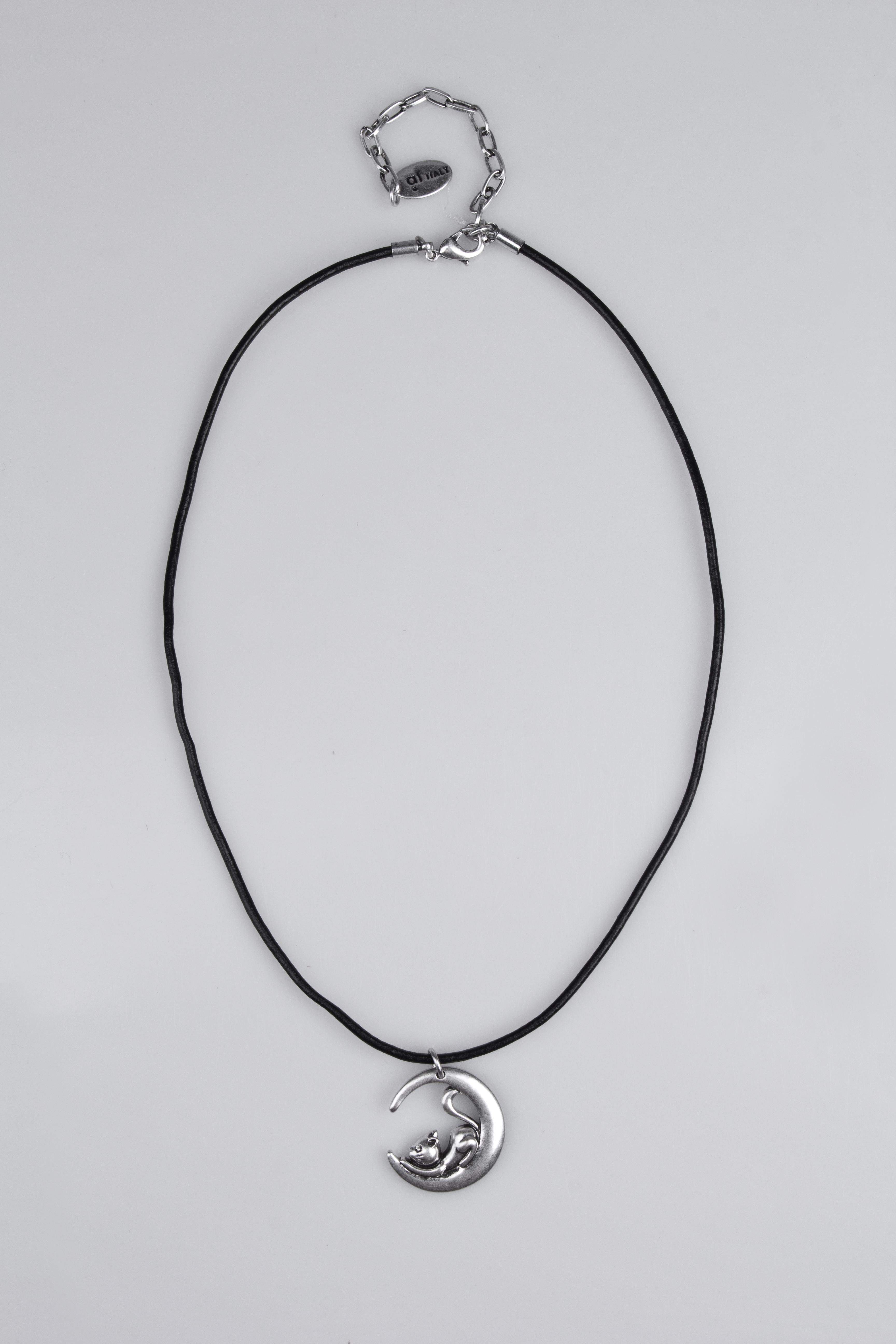 Ожерелье Кошка на лунеМетал: гиппоаллергенный бижутерный сплав<br>