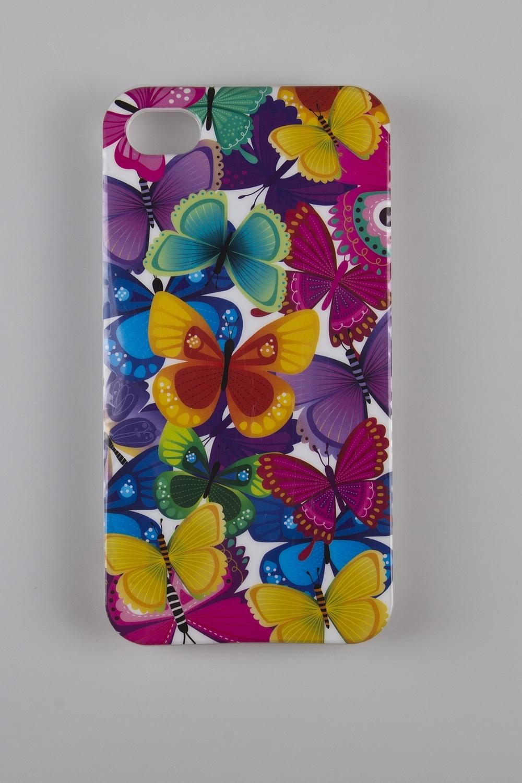Чехол для iPhone 4/4S Разноцветные бабочкиЧехол для iPhone 4/4S, пластик глянцевый<br>