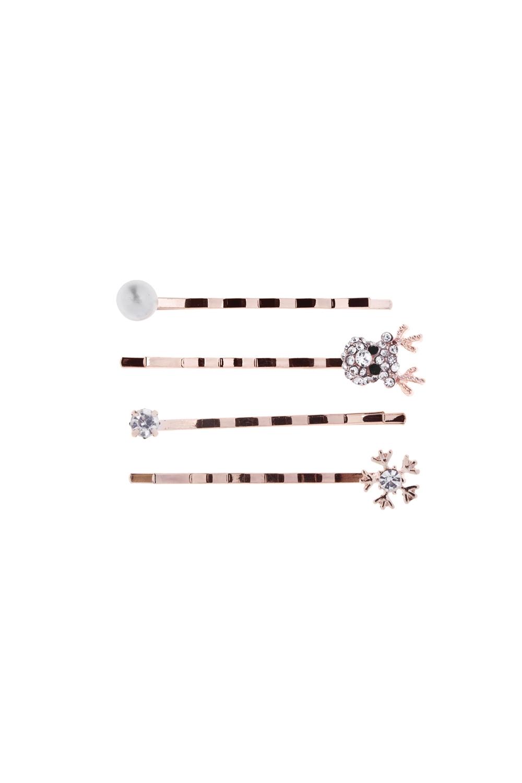 Набор заколок для волос ОлененокМатериал: металл, стекло. 4-предм.<br>