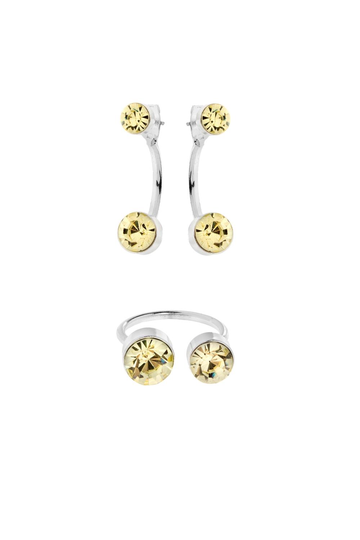 Набор украшений ТрендиВ набор входят серьги и кольцо. Материал: металл, стекло<br>